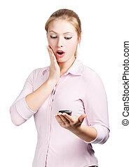 nő, smartphone, meglepődött