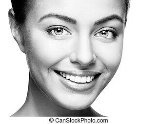 nő, smile., fog, whitening., fogászati, care.