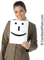 nő, smiley