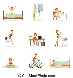 nő, sorozat, modern, betű, napi, reggel, este, gyakorlat, ábra, karikatúra, boldog