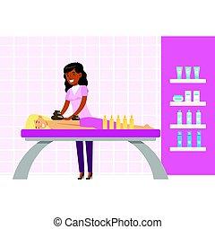 nő, spa., színes, bágyasztó, betű, elszigetelt, birtoklás, olaj, háttér, fehér, karikatúra, masszázs