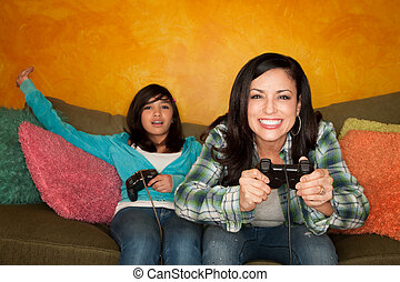 nő, spanyol, játék, video, leány, játék