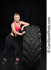 nő, sportszerű, autógumi