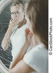 nő, száj, neki, fedő