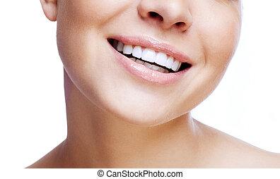 nő, száj, nevető