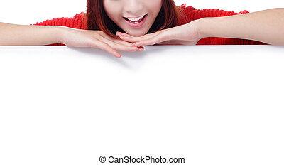 nő, száj, tiszta, hirdetőtábla, mosoly, boldog