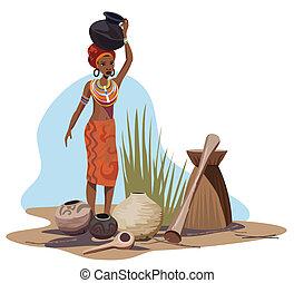 nő, szállítás, edény, afrikai