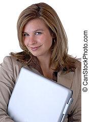 nő, &, számítógép