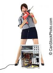 nő, számítógép, kínoz