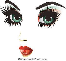 nő, szépség, arc
