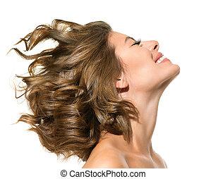 nő, szépség, felett, fiatal, háttér, portré, mosolygós, fehér