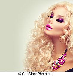nő, szépség, göndör, egészséges, hosszú, hair., portré, leány, szőke