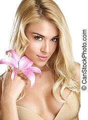 nő, szépség, kiállítás, fiatal, virág, friss, szőke, fehér