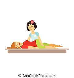 nő, színes, betű, massage., birtoklás, thai ember, karikatúra
