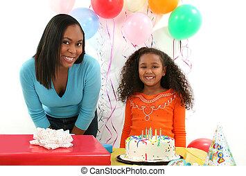 nő, születésnap, gyermek