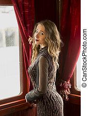 nő, szüret, látszó, ablak, kiképez, portré, szexi, ruha, ki