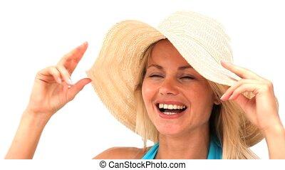 nő, szőke, kalap
