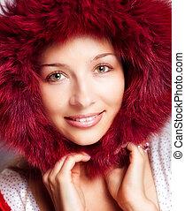 nő, szőr, tél, portré, csuklya, boldog