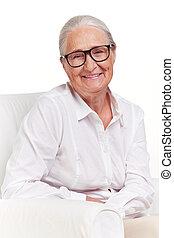 nő, szemüveg, öregedő