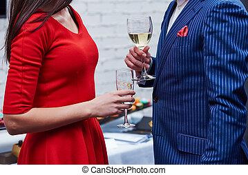 nő, szemüveg, bor, fél, ember