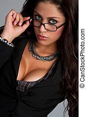 nő, szemüveg, fárasztó