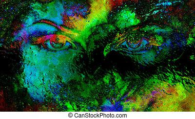 nő, szemek, alatt, kozmikus, háttér., szem, contact., pohár,...