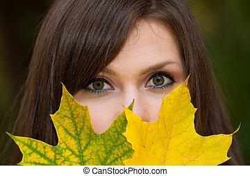nő, szemek, arc, nyílik, gyönyörű