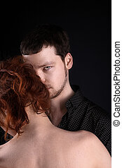 nő, -, szerelmes pár, portré, piros, ember