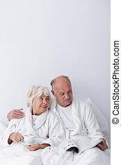nő, szeret, öregedő bábu