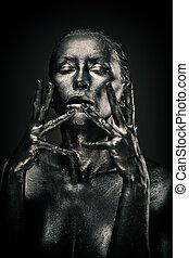 nő, szeret, folyékony, meztelen, fém, szobor