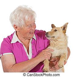 nő, szeret, neki, kutya, öregedő, között