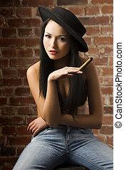 nő, szivar, kínai