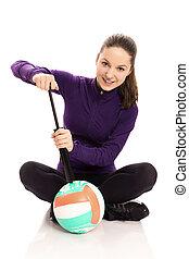 nő, szivattyúzás, röpte labda