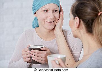 nő, támogató, beteg, lánytestvér