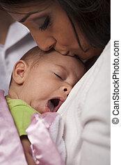 nő, tátong, neki, újszülött, bájos, etnikai, csecsemő