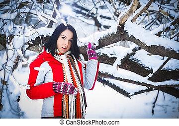 nő, tél, hó, felhalmoz, természet, portré