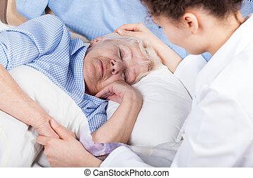 nő, törődik, körülbelül, öregedő, hölgy