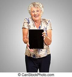 nő, tabletta, birtok, digitális, portré, idősebb ember