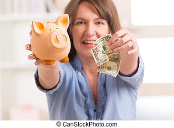 nő, takarékbetét pénz