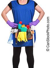 nő, takarítás