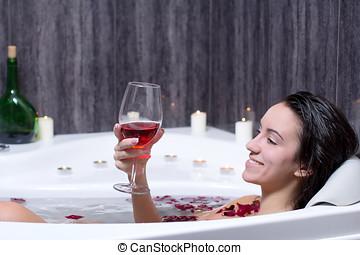 nő, tart, fürdőkád