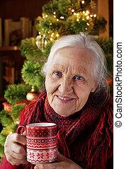 nő, tea csésze, öregedő