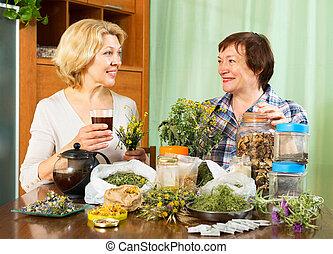 nő, tea, ivás, szomszéd, neki