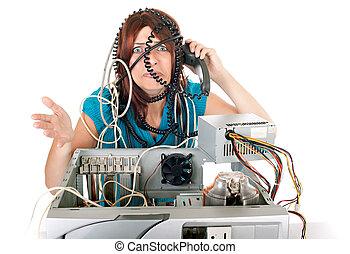 nő, technológia, pánik