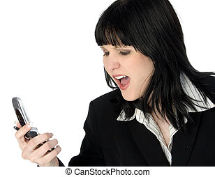 nő, telefon, mérges