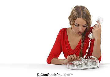 nő, telefonon