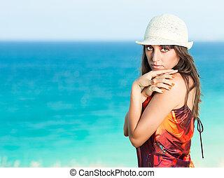 nő, tenger