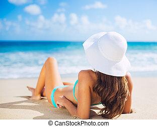 nő, tengerpart, bágyasztó