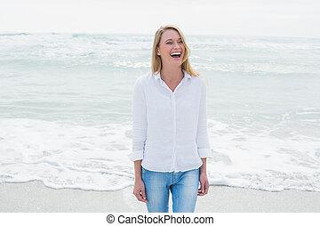nő, tengerpart, kényelmes, nevető