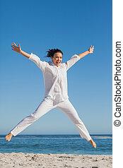 nő, tengerpart, ugrás, boldog
